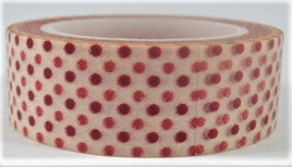 Washi Tape - Red Polka Dots on White Background CLEARANCE