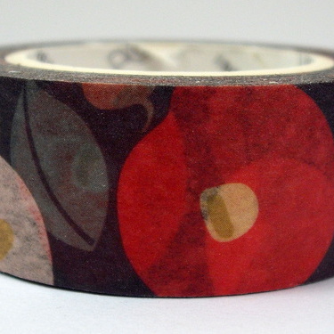 Washi Tape - Red, White & Green Flowers on Black Background