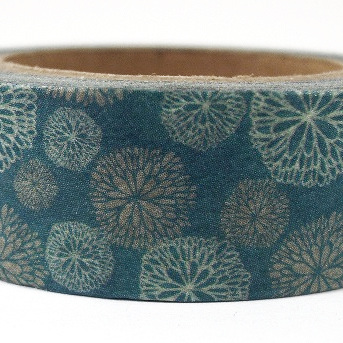 Washi Tape - Retro Flowers on Teal Background