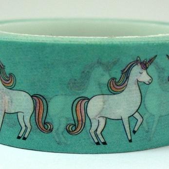 Washi Tape - Unicorns on Green Background