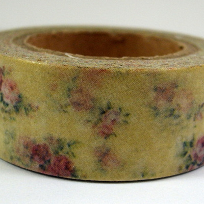 Washi Tape - Vintage Roses on Victorian Ochre