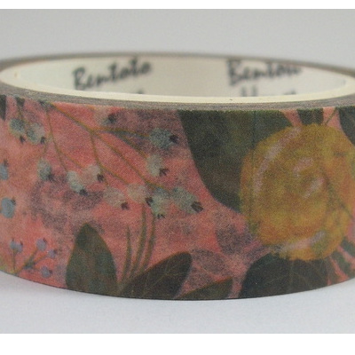 Washi Tape - Vintage Yellow Roses on  Pink Background
