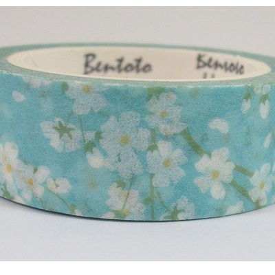 Washi Tape - White Blossoms on Pale Blue Background