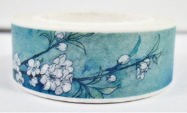 Washi Tape - White Blossoms on Sky Blue Background