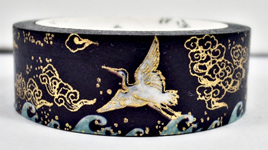 Washi Tape - White Cranes and Turquoise Waves on Dark Blue Background