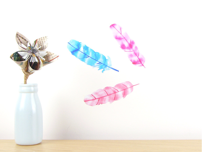 Watercolour Feathers wall decal