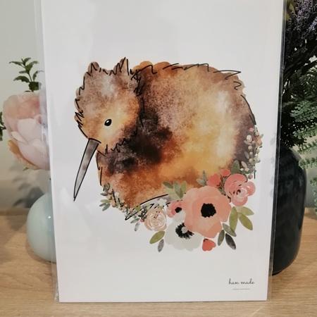 Watercolour Floral Kiwi Framed A4 Print