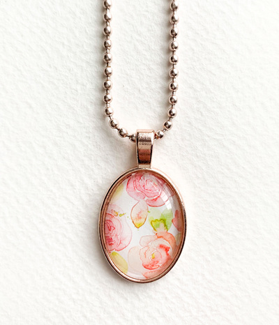 Watercolour pendant necklace - rose gold