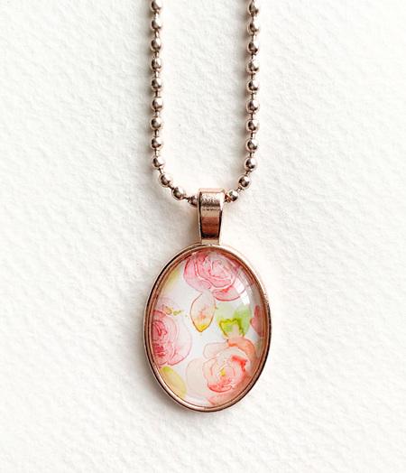 Watercolour pendant necklace - rose gold