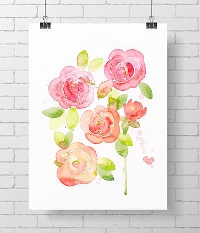watercolour roses