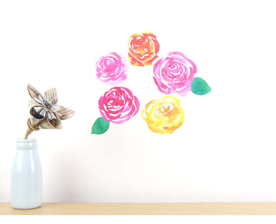 Watercolour Roses wall decal