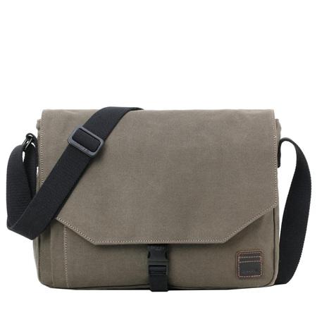 Waxed Canvas Laptop Messenger Bag - Olive