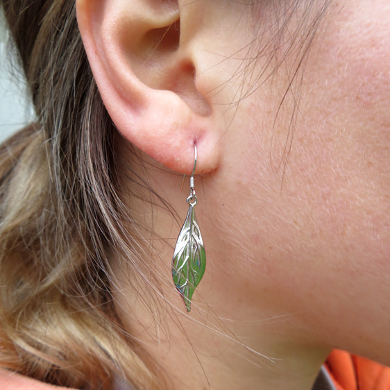 Wearing the sterling silver Pohutukawa leaves
