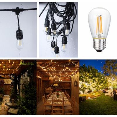 Weatherproof High Voltage 10m Bulb Exchangeable Festoon Lights - Warm White