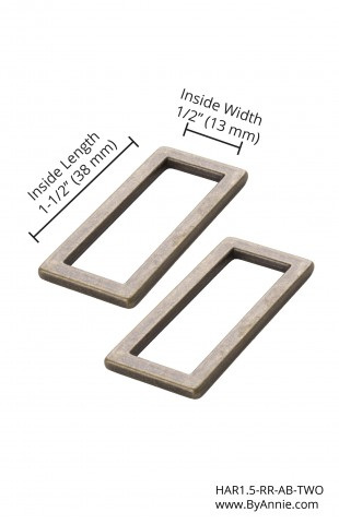 """1.5"""" Flat Rectangle Rings Antique Brass"""