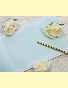 Wedding guest book - duck egg blue