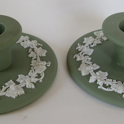 Green Jasperware candle sticks