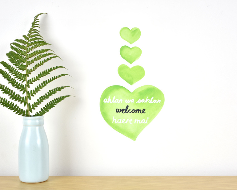 Welcome wall decal tiny - fundraising for Christchurch mosque attack victims