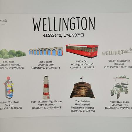 Wellington Landmarks A4 Print Framed