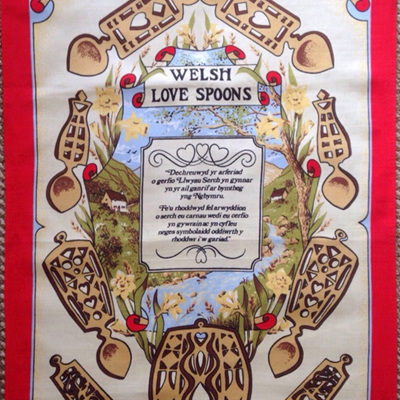 Welsh love spoon tea towel
