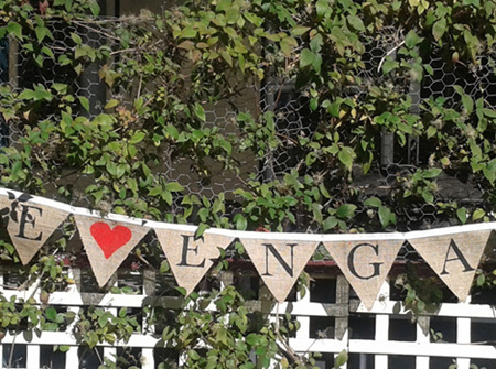 """'WE""""RE ENGAGED' hessian bunting"""
