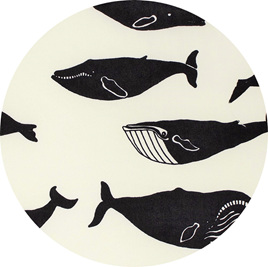 """Whale Pod"" Cream, GOTS Organic 100% Cotton Knit, 210gsm"