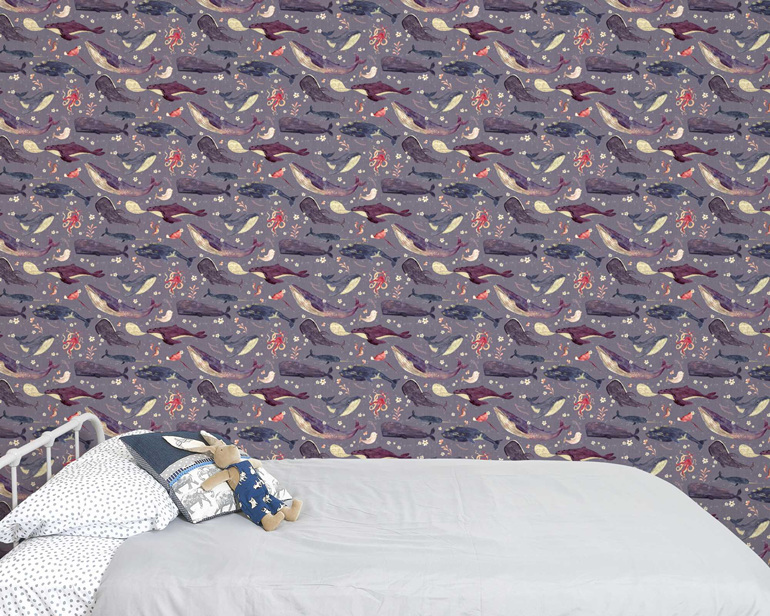 Whale song wallpaper on a lavender background