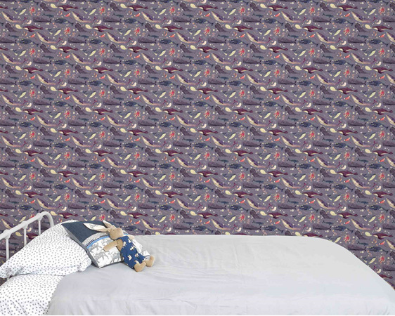 Whale wallpaper with lavender background behind bed and velveteen rabbit