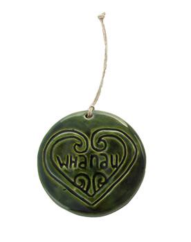 Whanau green ceramic tile for hanging
