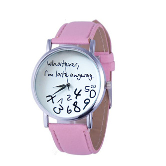 Whatever, I'm Late Anyways Watch - Pink Strap