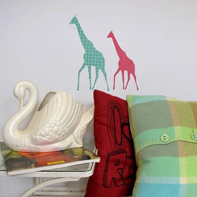Whimsical Giraffes  wall decal