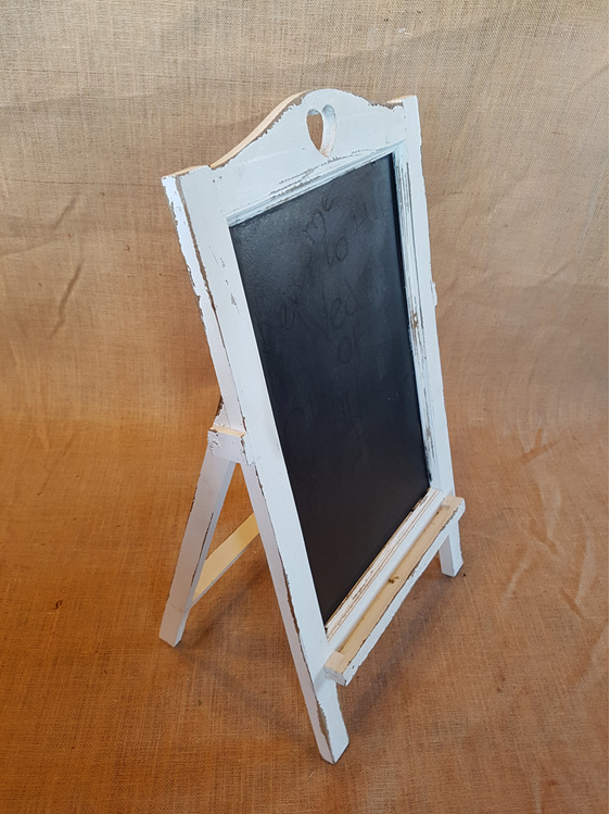 White a frame blackboard wedding and event hire