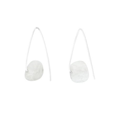 White Agate Sterling Silver Hook Earrings