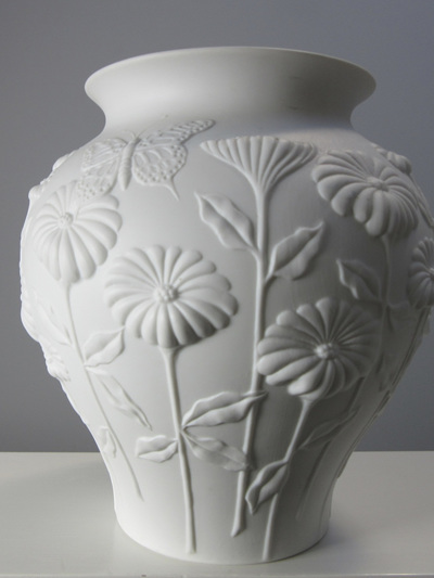 White Bisque Porcelain Vase with Flower & Butterfly Motif  by M Frey