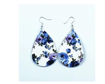 White & Blue Floral Earrings