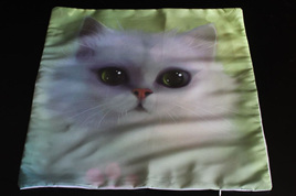 White Cat Green Background Cushion Cover