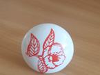 White Ceramic Knob with Orange Flower pattern