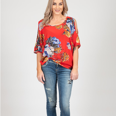 White Chalk - Powder Top - Red Floral