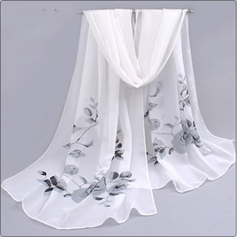 WHITE CHIFFON SCARF WITH GREY ROSES