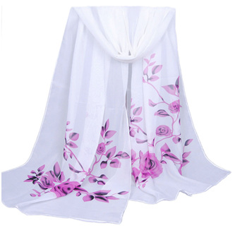 White Chiffon Scarf with Purple Pink Roses