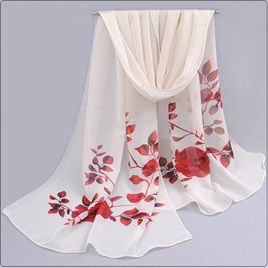 WHITE CHIFFON SCARF WITH RED ROSES