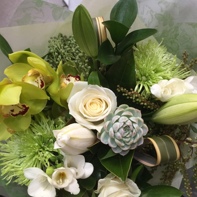 Fresh White, Cream, Green Toned Bouquets/Posies