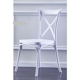 White Cross Back Resin Plastic Chair DUE  LATE November '21