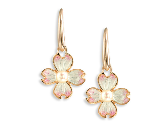 White Enamel Akoya Pearl Flower Drop Earrings