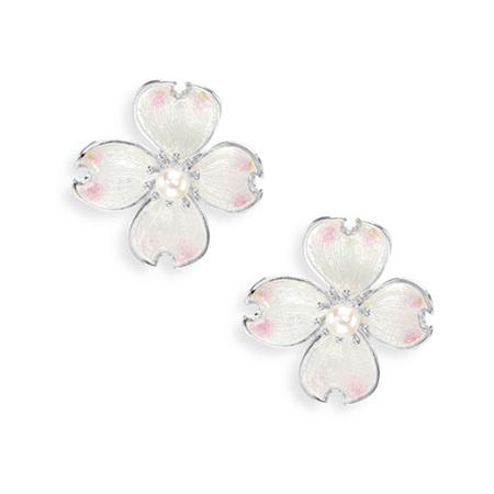 White Enamel Akoya Pearl Flower Earrings
