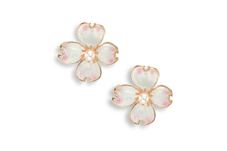 White Enamel Akoya Pearl Flower Earrings