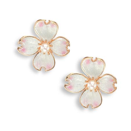 White Enamel Akoya Pearl Flower Earrings in Rose Gold