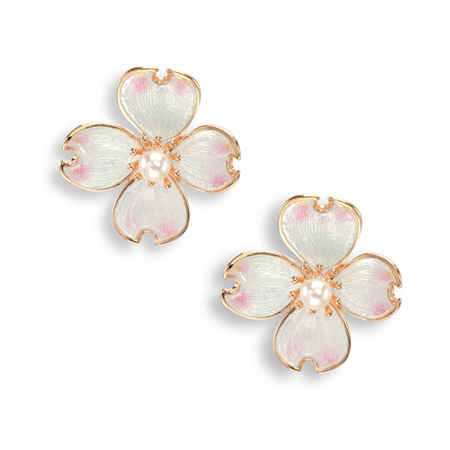 White Enamel Akoya Pearl Flower Earrings in Rose Gold
