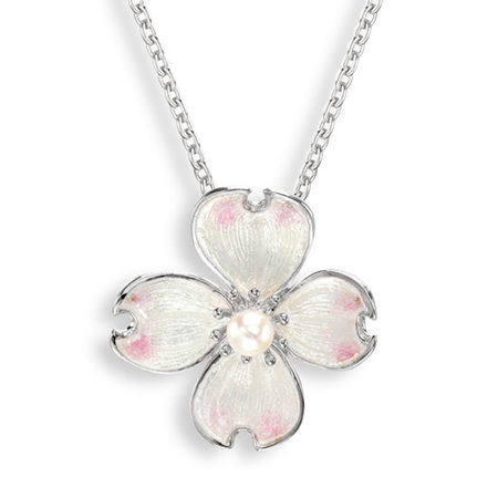White Enamel Akoya Pearl Flower Necklace