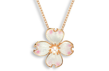 White Enamel Akoya Pearl Flower Necklace